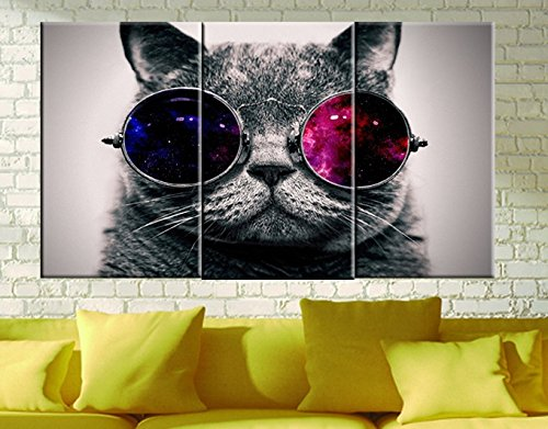 Amoy Art -3 panels Cut Cat with Glasses Wall Art Giclee Canvas Prints Animal Head Pictures Paintings on Canvas Stretched and Framed for Living Room Bedroom Home Decorations (8x16inch x3)