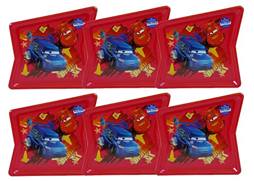 Kids Shaped Plastic Plate (Disney-Pixar Cars BPA-Free Plastic Reusable Kids Shaped Plates, 6-Pack)
