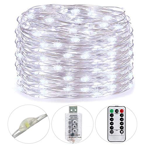 HSicily LED USB Fairy String Lights 8 Modes 49Ft 150 LEDs Starry Lights Plug-in Remote Control with Timer for Holidays Wedding Christmas Party Bedroom Indoor Outdoor Decorative Cool White