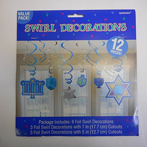 Colorful Hanukkah Icon Blue Plastic Swirls, 12 Ct. | Party Decoration