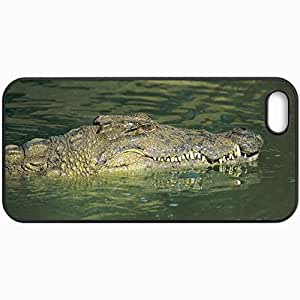 Customized Cellphone Case Back Cover For iPhone 5 5S, Protective Hardshell Case Personalized Crocodile Form Nice Picture Design Nature Black