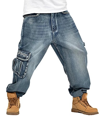 EMAOR Mens Loose Hip-Hop Jeans Cargo Skateboard Denim Pants Trousers Plus Size