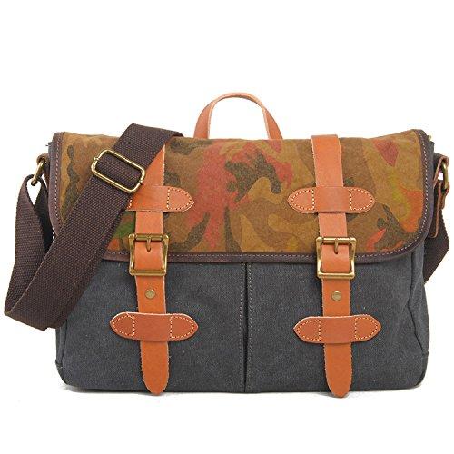 EcoCity Vintage Canvas Shoulder Messenger Bags (Grey)