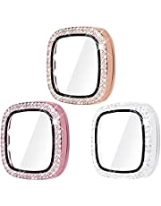 Surace Compatible for Fitbit Versa 2 Case with Screen Protector, Bling Crystal Diamond Tempered Glass Protective Cover Compatible for Fitbit Versa 2 Smart Watch (3 Packs, Rose Gold/Pink/Clear)