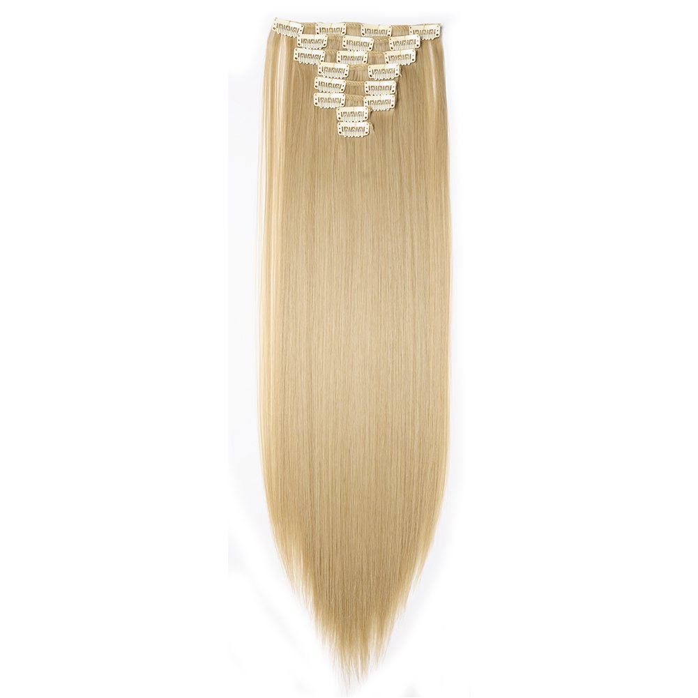 Hairpieces Clip in Synthetic Hair Extensions Japanese Kanekalon Fiber Full Head Thick Long Straight Soft Silky 8pcs 18clips for Women Girls Lady 23'' / 23 inch (24/613 ash blonde mix bleach blonde)