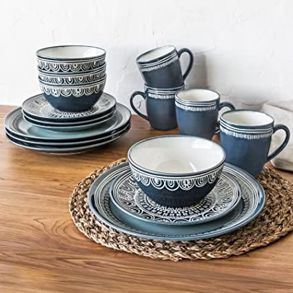 Better Homes and Gardens Teal Medallion 16 Piece Dinnerware Set : better homes and gardens dinnerware sets - pezcame.com