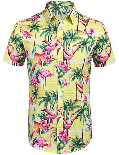 ky Hawaiian Shirt Flower Tropical Aloha Shirts Unisex Casual Hawaiian-Print Party Button Down Short Sleeve Party Flamingos Shirt (Yellow L) ()