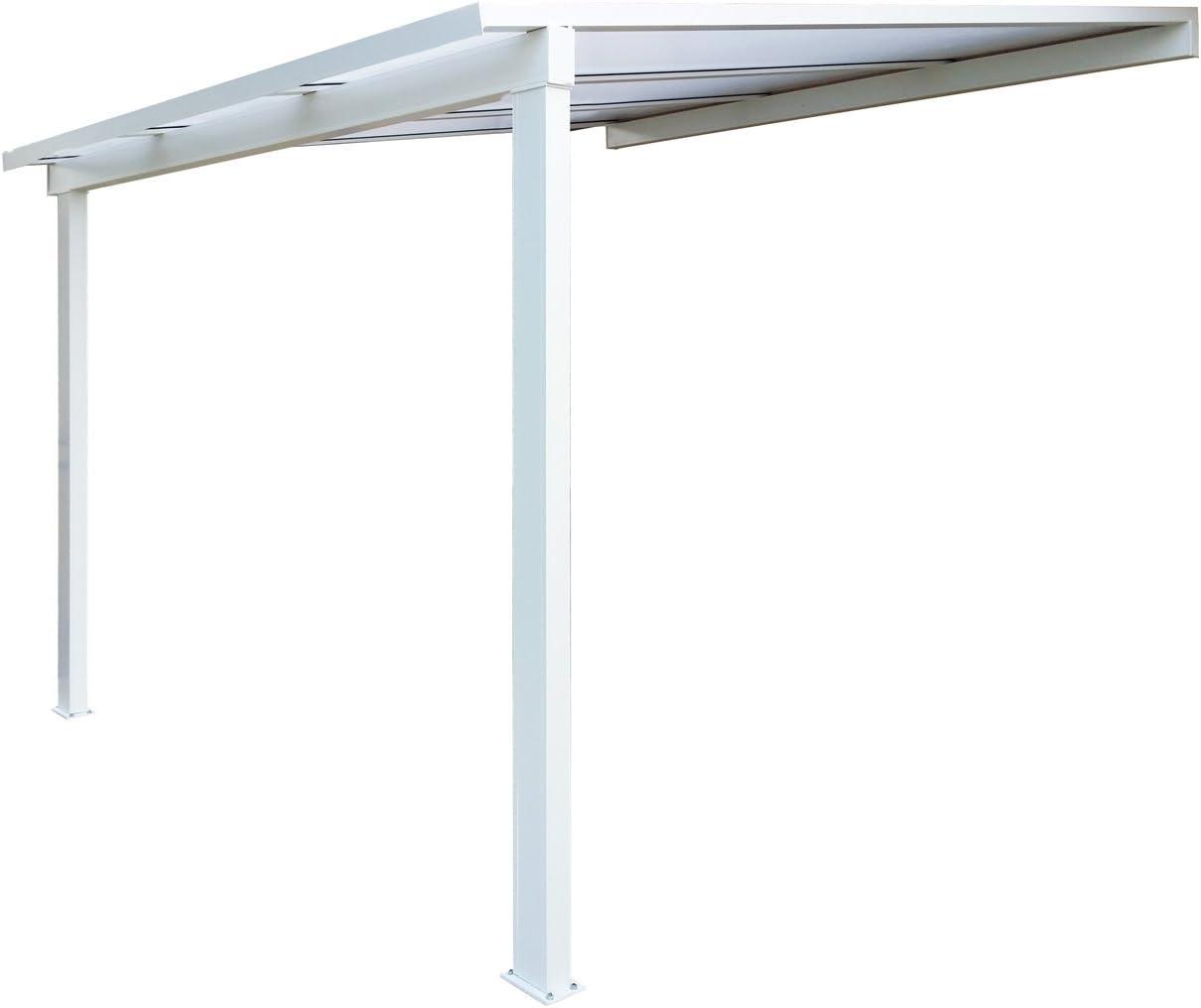 Pérgola de aluminio clásica adosada con techo de policarbonato de ...