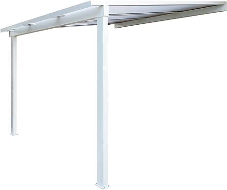 Pérgola de aluminio clásica adosada con techo de ...