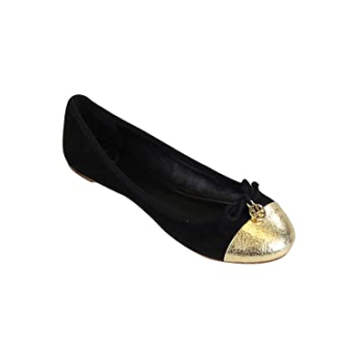 433c5e7f3 Image Unavailable. Image not available for. Color  Tory Burch Chelsea  Ballet w Cap Toe Soho Lux Suede Flats Black Gold Size