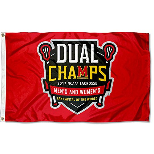 College Flags and Banners Co. Maryland Terrapins 2017 Mens and Womens Lacrosse National Champions Flag by College Flags and Banners Co.