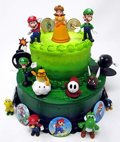 Mario Brothers Birthday Party 22 Piece Mario Birthday Cake Topper Featuring Mario, Luigi, Bullet, Toad, Mushroom, Goomba, Koopa, Shy, Bomb, Lakitu Spiny, Mario Coins, Large Bomb, and 6 Mario 1