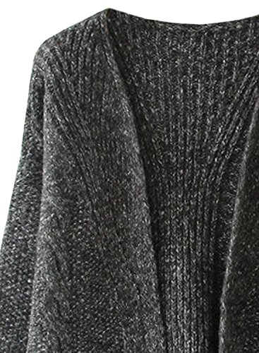 Delantero Punto Gris Mujer Con De Abierta Chaqueta Otoño Bolsillo Futurino invierno Oscuro xAzwq8n4