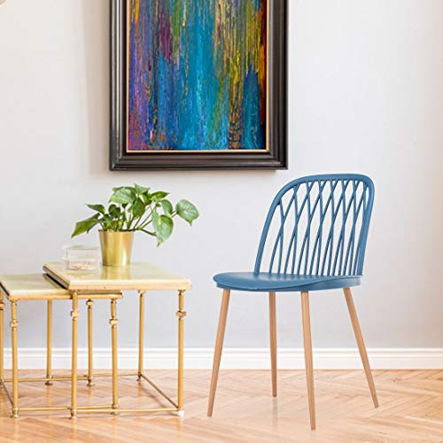 Durian Lars Blue Synthetic Fibre Dining Chair, Standard  LARS/A