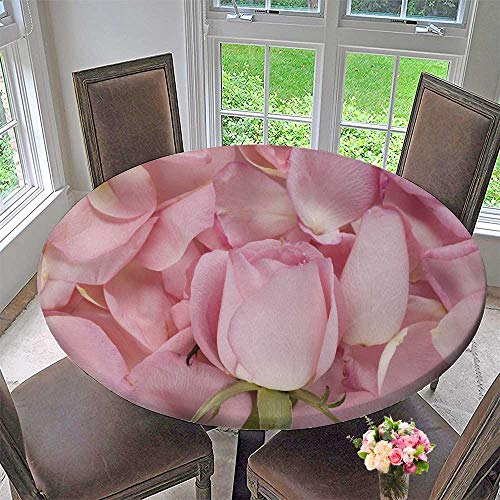 Chateau Easy-Care Cloth Tablecloth Pink Roses and Petals for Home, Party, Wedding 63