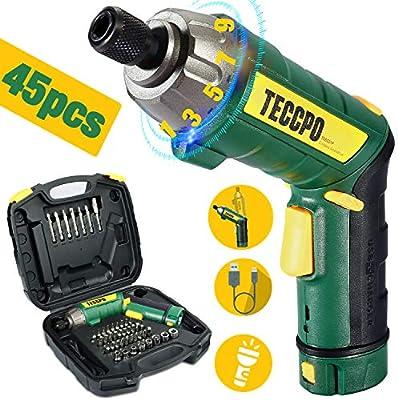 Atornillador Eléctrico 6N.m, TECCPO Destornillador Eléctrico, 45 Accesorios, 9 Torsión Ajustable, 2 Luz LED, Inferior como Linterna, 2.0Ah Recargable, ...