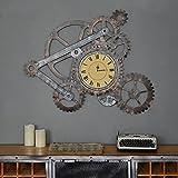 Horloge Industriel Vent Fer Engrenage Horloge murale Décoration de salon Créative Bar Café Ornements muraux ( Couleur : A )