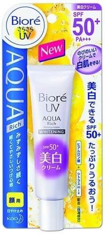2 Packs of New Biore SARASARA UV Aqua Rich Whitening Cream Sunscreen 33g. SPF50+ PA+++