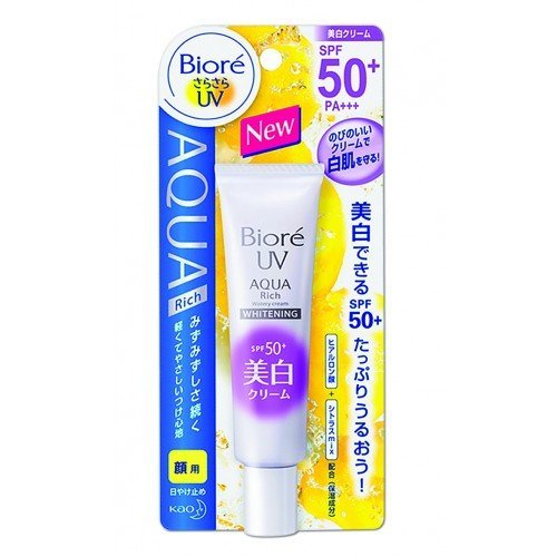 2 Packs of New Biore SARASARA UV Aqua Rich Whitening Cream Sunscreen 33g. SPF50+ PA+++