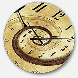 Designart Endless Time Spiral' Oversized Contemporary Metal Clock, Circle Wall Decoration Art, 23x23 Inches, Beige