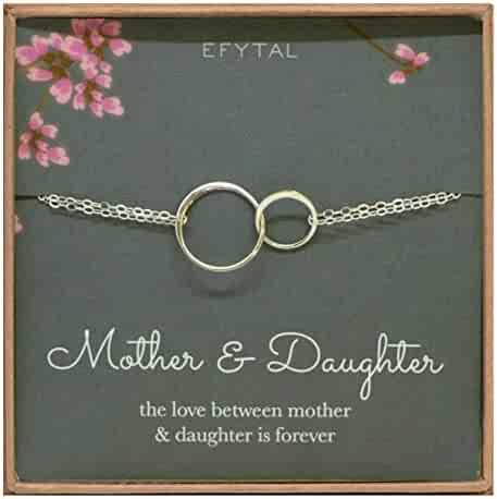 EFYTAL Mother Daughter Bracelet - Sterling Silver Two Interlocking Infinity Circles, Mothers Day Jewelry Gift