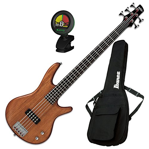 Ibanez GSR105EXMOL 5-String Electric Bass (Natural Oil) w/ Gig Bag and Tuner (Guitar Oil Bass)