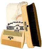 #6: Grow a Beard Boar Bristle Brush Bamboo & Dual Action Comb Set for Men