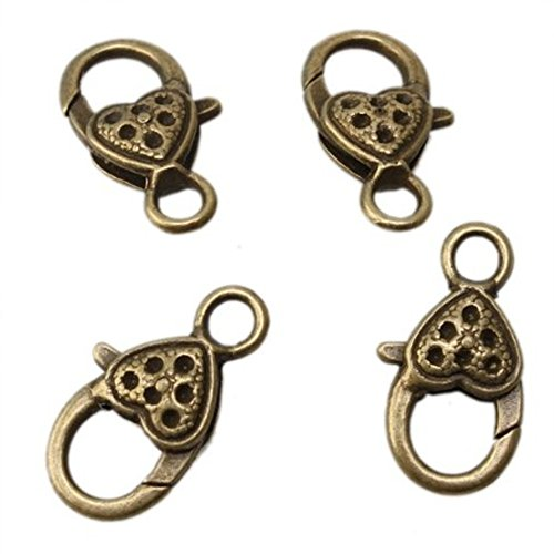 Heart Bronze Plated Jewelry Lobster Clasps Findings 26X14mm 20PCS