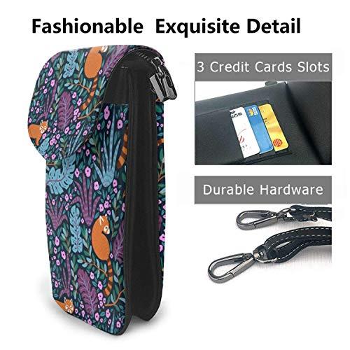 Hdadwy mobiltelefon crossbody väska katttryck kvinnor PU-läder mode handväska med justerbar rem