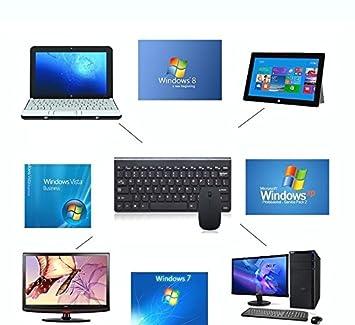 Luxtech Conjunto de teclado y ratón Mini Wireless Mouse Ultra Slim Keyboard para PC iOS Sistema operativo Apple Windows Vista Linux: Amazon.es: Informática