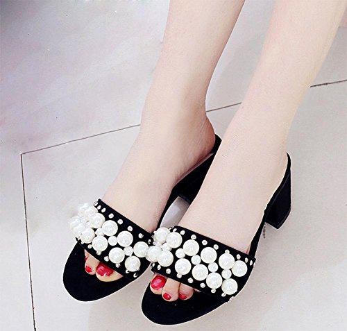Runde Perle des Sommers weibliche Hausschuhe Sandalen offene Sandalen und Pantoffeln im Schlepptau mit dick mit weiblichen Sandalen Wort Black