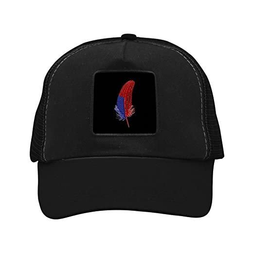 e8c35403b4c Nichildshoes hat Mesh Caps Hats for Men Women Unisex Print Feather Us Flag  Black