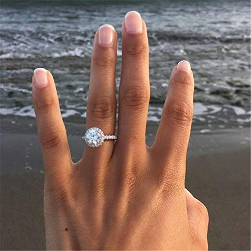 Tripmark Exquisite Ring 925 Sterling Silver Round White Sapphire Accross Diamond Jewelry Anniversary Proposal Gift Party Bridal Engagement Wedding Band Rings for Bride Women - Diamond Sapphire & Ring