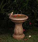 "18.1"" Latte Brown Italian Leaf Faux Stone Outdoor Patio Garden Birdbath Fountain"