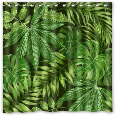 Amazon Com Ashasds Shower Curtain Green Tropical Plants Big