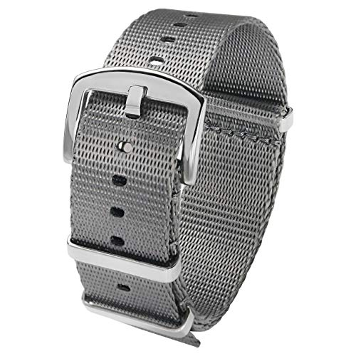 (PBCODE Watch Straps NATO Strap 20mm Seat Belt Nylon Watch Bands Grey with Polished Buckle Heavy Duty)