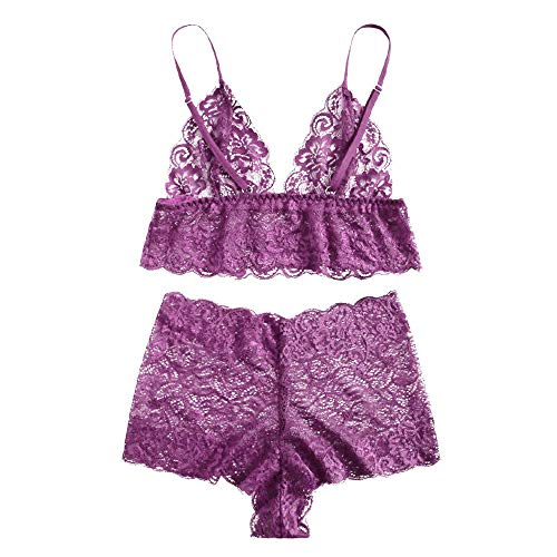 - Women's Nightgowns Sleepshirts Lace Babydoll Sexy Bra Lingerie Set Underwear Sexy Nighty Purple