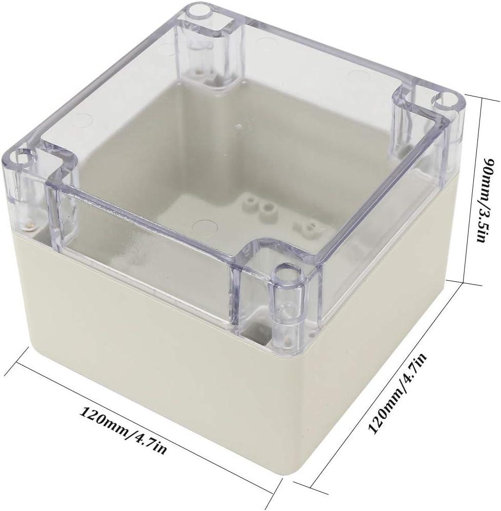 120mm x 120mm x 90mm Rectangular Dustproof IP65 Plastic Junction Box Case Grey