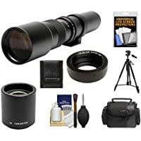 Rokinon 500mm f/8 Telephoto Lens & 2x Teleconverter (= 1000mm) with Case + Tripod + Kit for Olympus OM-D EM-5, Pen E-P2, E-P3, E-PL2, E-PL3, E-PM1 & Panasonic Micro 4/3 Digital Cameras