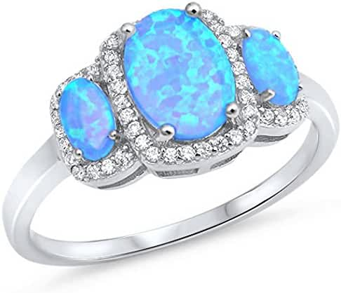 CHOOSE YOUR COLOR Sterling Silver Lab Created Opal Clear CZ Tri Oval Shape Halo Ring (Size 5 - 10)