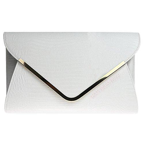 Wocharm Ladies Evening Clutch Bag Girly HandBags Animal Print Croc Flat Envelope White