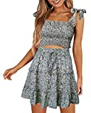 Doballa Women\s Bohemian Striped Printed Crop Top With High Waist Shorts Two Piece Outfit Suit Set (US2, White Daisy)