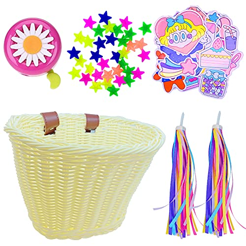 Heyworld Kids Bike Basket, Wicker Basket, Handlebar Bicycle Basket for Girls with Bike Bell, Streamers, Stickers Bike Decoration Accessories Set (Natural Set 1)