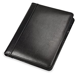 "Samsill Regal Executive Leather Padfolio / Portfolio, Wraparound Zipper Closure, Interior 10.1"" Tablet Sleeve, 8.5 x 11 Writing Pad, Black"