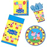 Peppa Pig Birthday Party Supplies for 50 Pieces | Disposable Tableware Pack for 16 Guests | Includes Plates, Napkins, Cups, Table Cover and Party Planning eBook (ParteePak Basic)