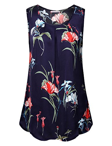 Furnex Womens Blouses, Woman's Sleeveless Blouses Dressy Chiffon Blouses for Leggings A Line Casual Floral Tank Top for Bussiness Work Multicolor Blue X-Large by Furnex