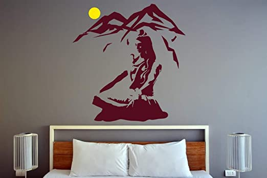 Amazon Com Lord Shiva Wall Sticker Yoga Lotus Pose Vinyl Wall Decal Mountain Meditation Home Decoration Hindu God Removable Art 2 Size 1 Home Kitchen