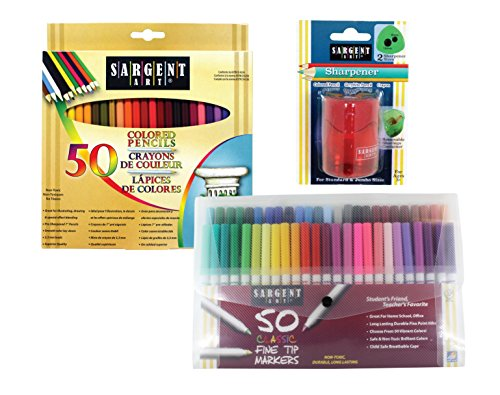 Sargent Art Sargent Art-22-0083 Draw Art Set with Bonus 101 pc Colored Pencils, Markers, Sharpener