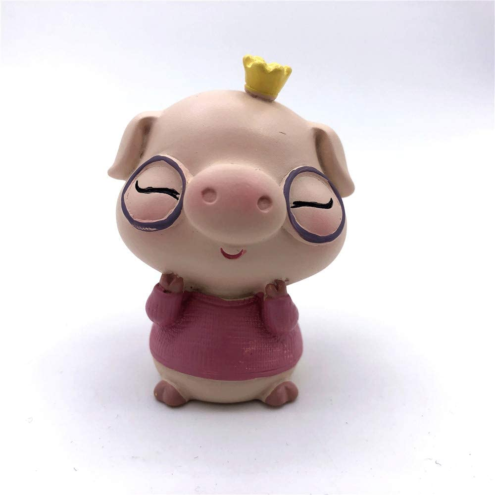 CCKANSCLE Mini Cute Resin Pig Decoration Home Office Cafe Bar Store Auto Decor (Pink)