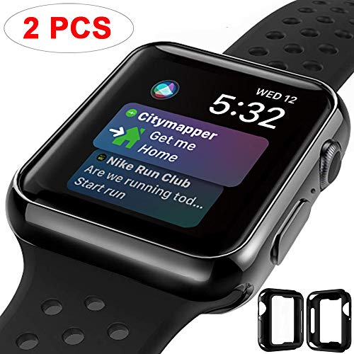 (M MYECOGO Compatible Apple Watch Series 4 Case 44mm, [2 Pack] iWatch 4 All-Around Soft TPU Protective Bumper Cover Case for 2018 Apple Watch Series 4 TPU Case Black)